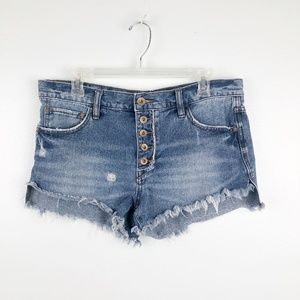 Free People | Button Fly High Waisted Shorts 28